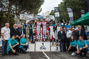 ROSSEL Yohan et FULCRAND Benoît, Citroën C3 R5, GILBERT Quentin et GUIEU Christopher, Volkswagen Polo R5, ASTIER Raphael et VAUCLARE Frédéric, Hyundai I20 R5, podium ambiance during the 2019 French rally championship, rallye d'Antibes from May 17 to 19 at Antibes, France - Photo Thomas Fenetre / DPPI